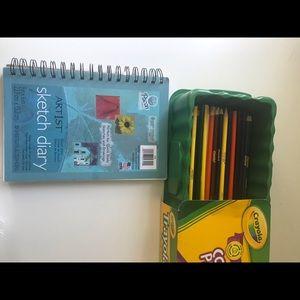 Sketch book and crayola trayola pencils